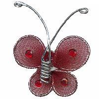 Petit Papillon Autocollant Organza Déco Bordeaux