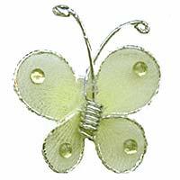 Petit Papillon Autocollant Organza Déco Vert Anis