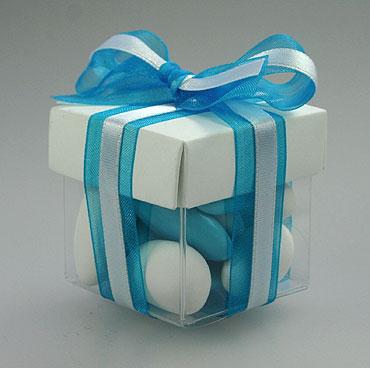 Boite Dragées Cube pas cher Turquoise