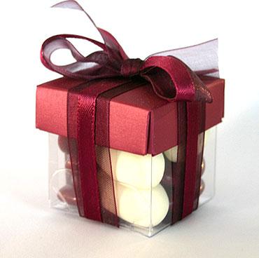 Boite Dragées Cube Mariage Bordeaux