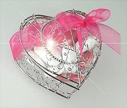 Coeur Fil Métal Argent Dragées