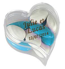 Boite Coeur Pvc Transparent Contenant dragées discount