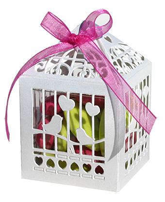 lot de 20 boites cages oiseau blanc avec cube pvc boites et pr sentations de drag es bapteme. Black Bedroom Furniture Sets. Home Design Ideas