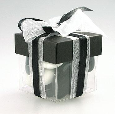 Boite Dragées Cube Mariage Blanc et Noir