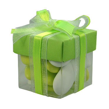 Boite Dragées Cube Mariage Vert Anis