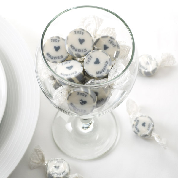 Bonbons Just Married Mariage Blanc Gris