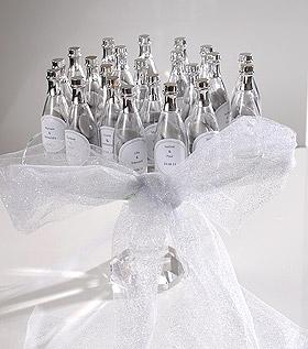 Mini Bouteilles Champagne Pvc avec dragées Argent