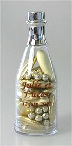 Mini Bouteilles de Champagne Pvc Contenant Dragées Doré