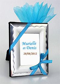 Mini Cadre Argent avec Pochon Dragées Turquoise