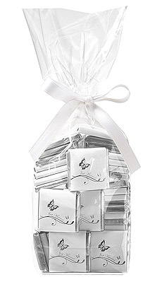 Carrés Chocolat Emballés Papillon Blanc Argent