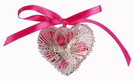 Coeur Acier Argent Contenant Dragées pas cher Fuchsia