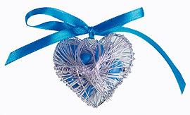 Coeur Acier Argent Contenant Dragées Turquoise