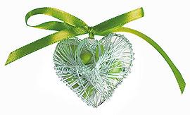 Coeur Acier Argent Contenant Dragées pas cher Vert Anis