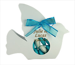 Colombe Boite dragées Transparente Mariage Turquoise