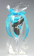 Mini Flute Pvc Contenant dragées Turquoise