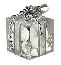 Cube Transparent Contenant Dragées Argent