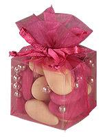 Cube Transparent Organza Contenant Dragées Fuchsia