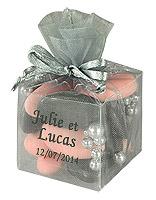 Cube Transparent Organza Contenant Dragées Gris