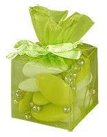 Cube Transparent Organza Contenant Dragées Vert Anis