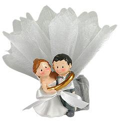 Figurines Mariés Pochon Dragées discount Gris