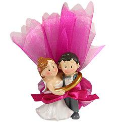 Figurines Mariés Pochon Dragées discount Fuchsia