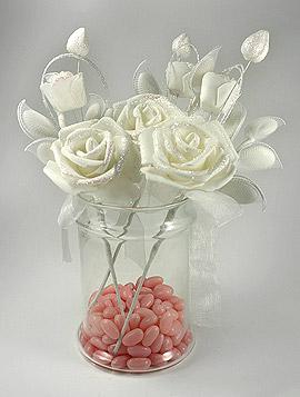Roses Pailletées Raquettes Dragées Ivoire