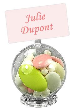 Support Anneau Boule Contenant Dragée Prénoms