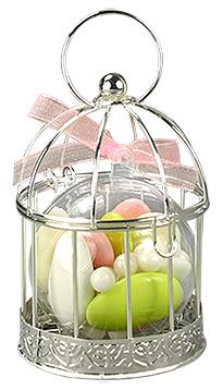 Mini Cage à Oiseaux Argentée Contenant Dragées