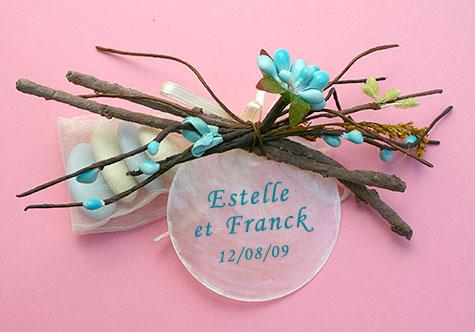 Fagot Bois et Rond en Nacre Dragées Turquoise