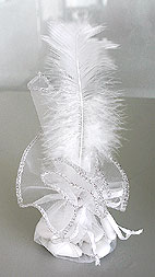 Pochon Tulle Strass Plume Contenant Dragées Blanc