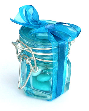 Mini Pot à Confiture Verre Contenant dragées Turquoise