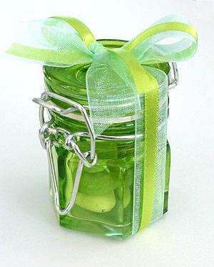 Mini Pot à Confiture Verre Contenant dragées Vert Anis