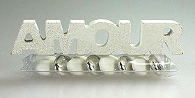Tube Pvc Dragées Lettre Amour Blanc