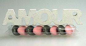 Tube Translucide Dragées Lettre Amour Blanc