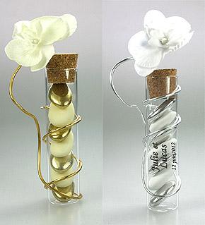 Eprouvettes avec Fil Orchidées et Dragées Argent Doré