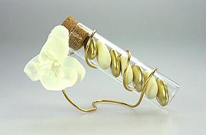 Eprouvettes Fil Orchidées et Dragées Doré