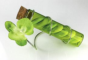 Eprouvette Vert Anis avec Orchidées et Dragées
