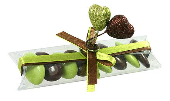 Tubes Translucides Dragées Coeur pas cher Vert Anis Chocolat