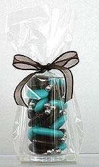 Verrine Cylindrique Pvc Contenant dragées turquoise
