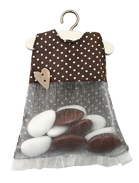 Petite Robe Pois Chocolat sur Cintre Contenant Dragées Fille