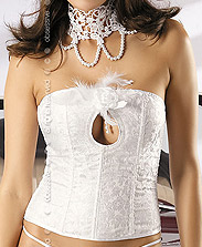 Bustier Mariage Plumes et Perles