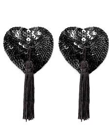Caches Tétons Coeur Pompon Noir