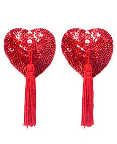 Caches Tétons Coeur Pompon Rouge