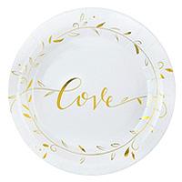 Assiettes Rondes Carton Just Married Love Doré