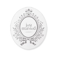 Lot de 50 Autocollants Ovales Blason Just Married
