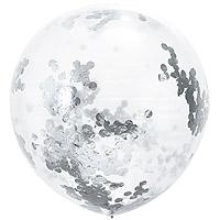Grand Ballon Transparent Décoration Fetes avec Confetti Gris Argent