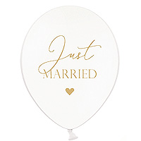 Ballon Baudruche Just Married Blanc Doré Pas Cher
