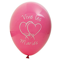 Lot de 8 Ballons Vive les Mariés Double Coeur