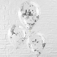 Ballons Transparents Cristal avec Confettis Gris Argent