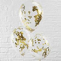 Ballons Transparents avec Confettis Doré